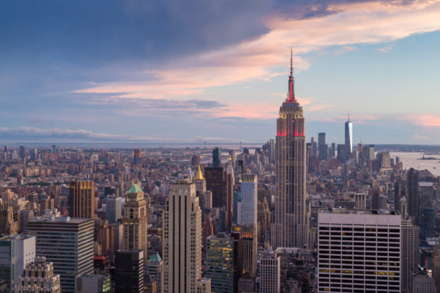 View of New York city and the Empire State building from the Rockefeller