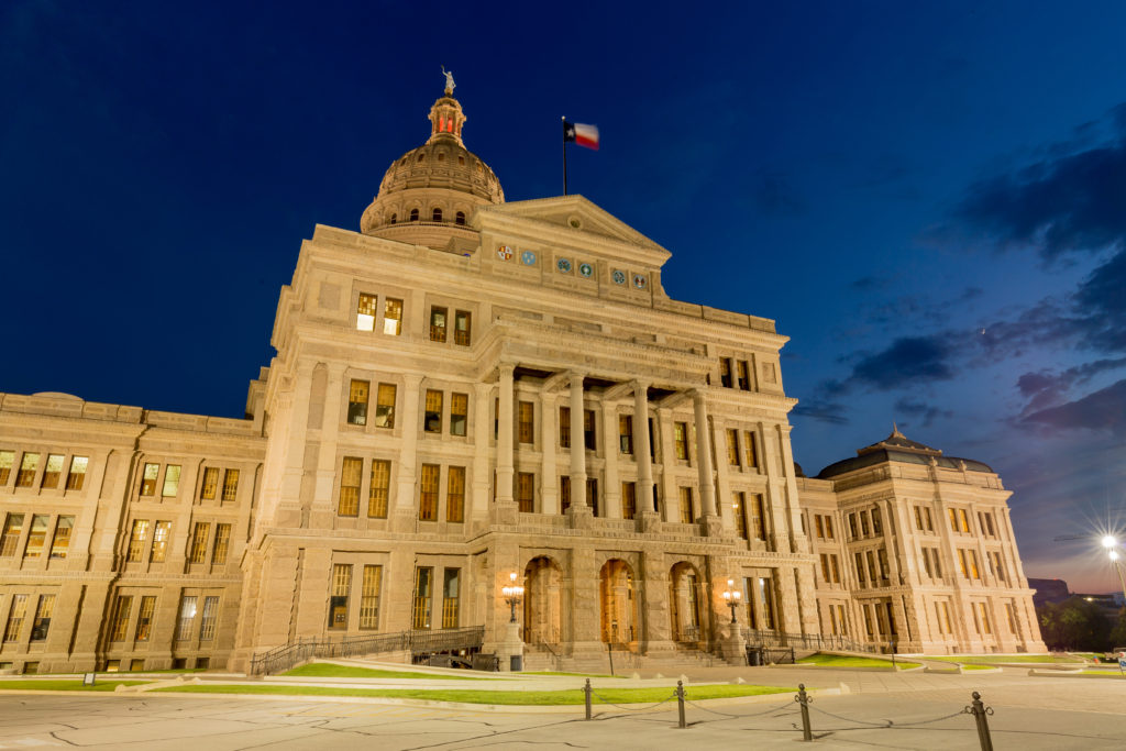 Night photo of the Capitol in Austin, Texas