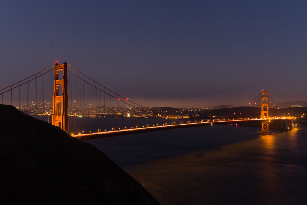 Night photo of the San Francisco bridge